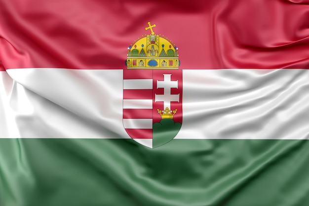 Vlag van hongarije met wapenschild Gratis Foto