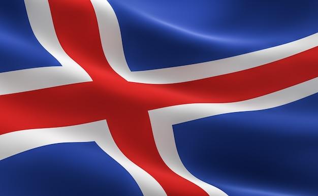 vlag van ijsland. 3d illustratie van de vlag van ijsland. | foto