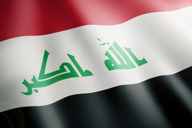 Vlag van irak wappert vooraan in de wind Premium Foto