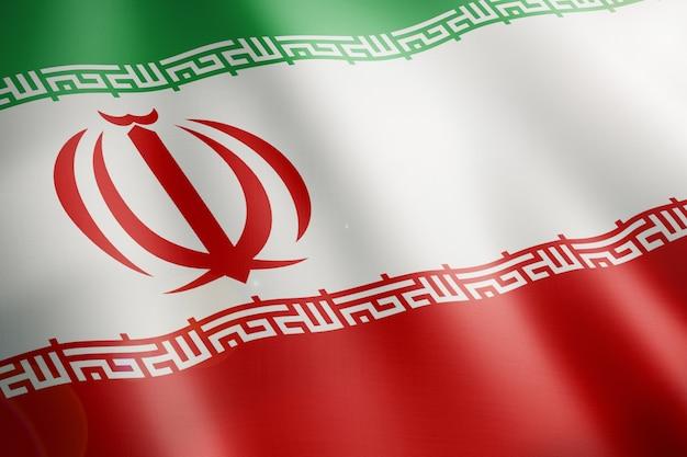 Vlag van iran wappert in de lus Premium Foto