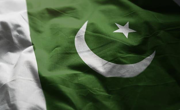 Vlag van pakistan verkreukelde close-up Premium Foto