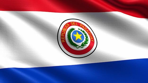 Vlag van paraguay, met golvende stof textuur Premium Foto