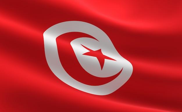 Vlag van tunesië. illustratie van de tunesische vlag zwaaien. Premium Foto