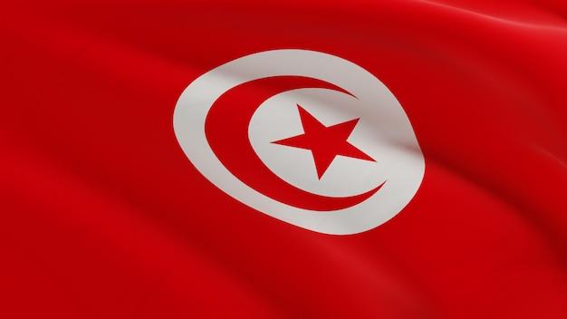 Vlag van tunesië zwaaien in de wind, stof micro textuur in 3d kwaliteit renderen Premium Foto