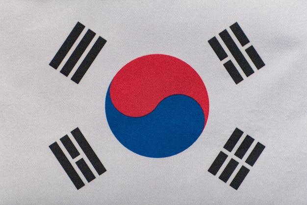 Vlag van zuid-korea close-up. nationaal symbool van de republiek korea Premium Foto