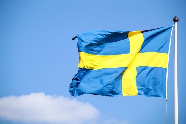Vlag van zweden op een paal Premium Foto