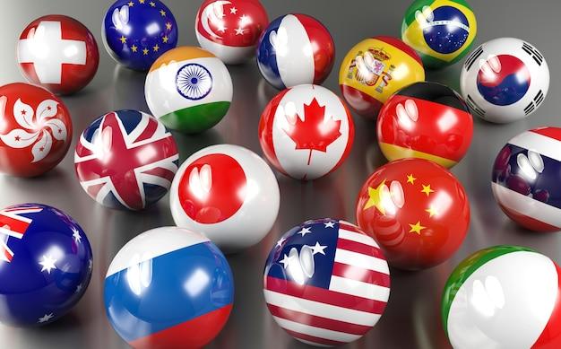 Vlagballen van eurolanden Premium Foto