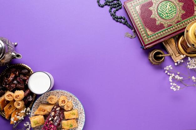 Vlak leg islamitisch nieuw jaarconcept met exemplaarruimte Gratis Foto
