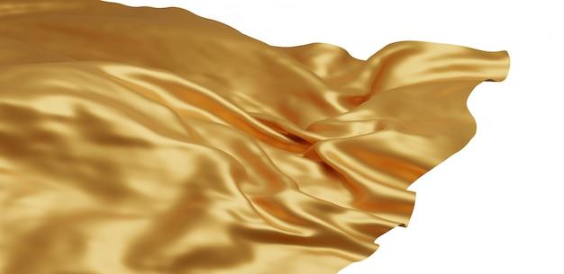 Vliegende gouden doek geïsoleerd op een witte achtergrond Premium Foto