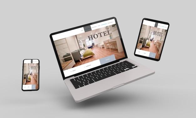 Vliegende laptop, mobiel en tablet 3d-rendering met hotel responsive webdesign .3d illustratie Premium Foto