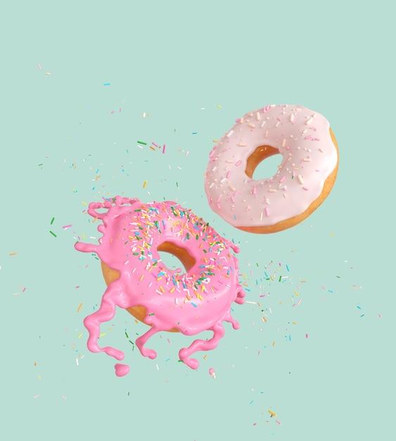 Vliegende roze en witte donuts en besprenkeld Premium Foto