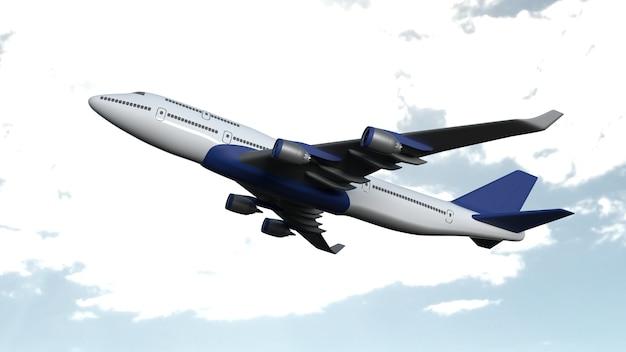 Vliegtuig geïsoleerd op wolkenhemel Gratis Foto
