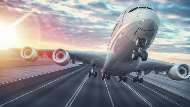 Vliegtuig opstijgen vanaf de luchthaven. Premium Foto
