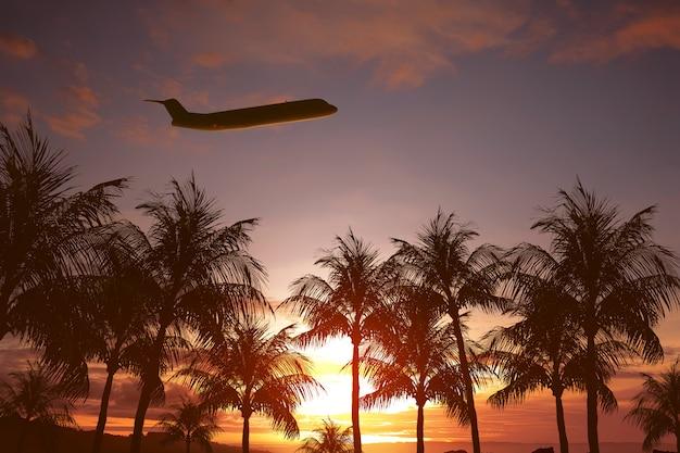 Vliegtuig vliegt boven tropisch eiland Premium Foto