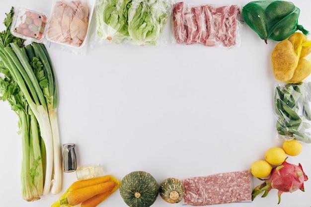 Voedsel levering achtergrond Premium Foto