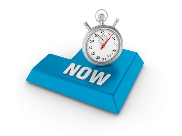 Voer key in met stopwatch en now word Premium Foto