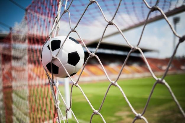 Voetbal in doel succes concept Gratis Foto
