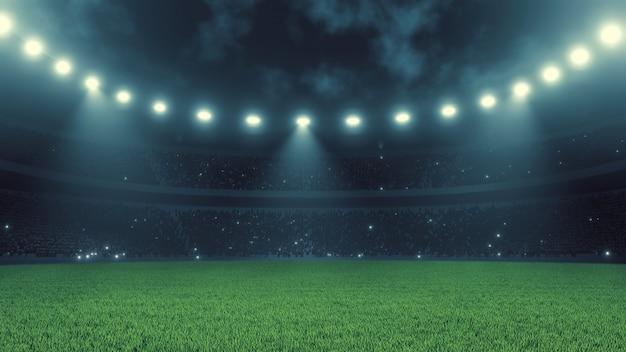 Voetbal sportstadion nachts Premium Foto