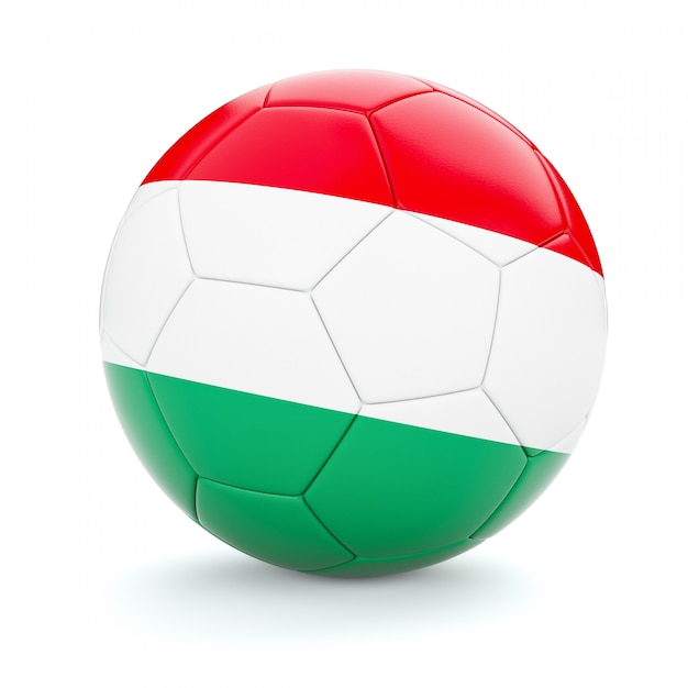 Voetbal voetbal met de vlag van hongarije Premium Foto