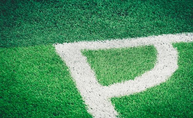 Voetbal voetbal veld witte hoeklijn voor achtergrond Premium Foto