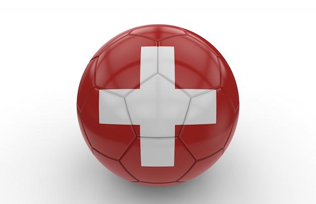 Voetbalbal met zwitserse vlag Premium Foto