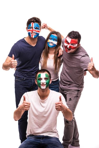 Voetbalfans gezichten geschilderde ondersteuning nationale teams van kroatië, nigeria, argentinië, ijsland Gratis Foto