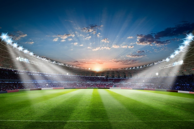 Voetbalstadion 3d het teruggeven voetbalstadion met overvolle gebiedsarena Premium Foto