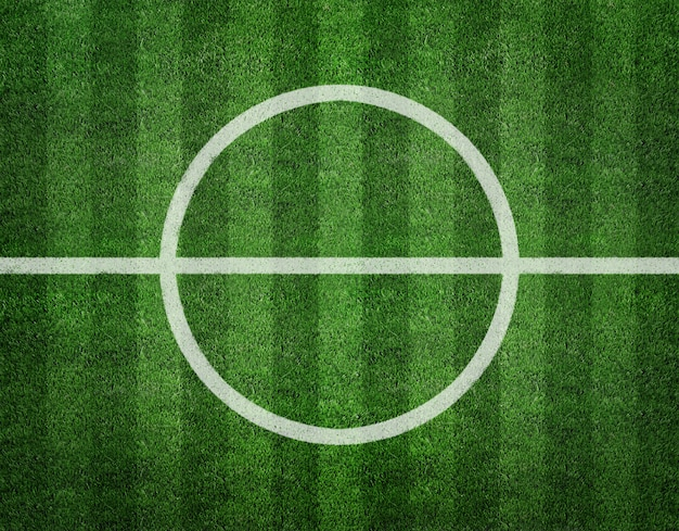 Voetbalveld centrum bovenaanzicht achtergrond Premium Foto