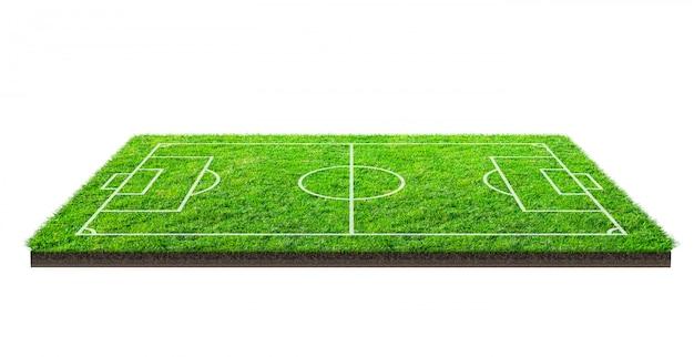 Voetbalveld of voetbalveld op groen gras Premium Foto
