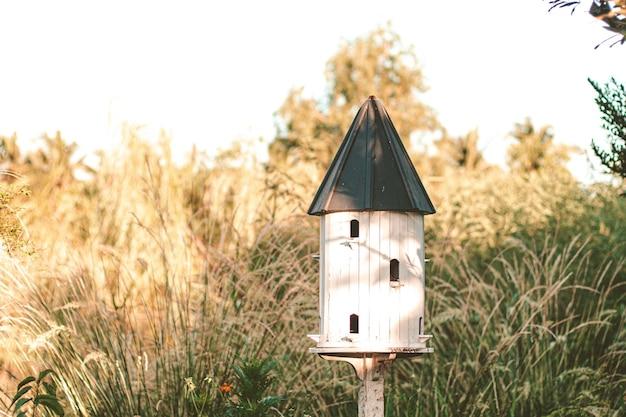 Vogelhuisjes en vogelvoer Premium Foto