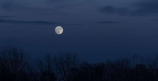 Volle maan in de donkere hemel tijdens maansopgang Gratis Foto