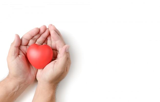 Volwassen handen die rood geïsoleerd hart houden Premium Foto