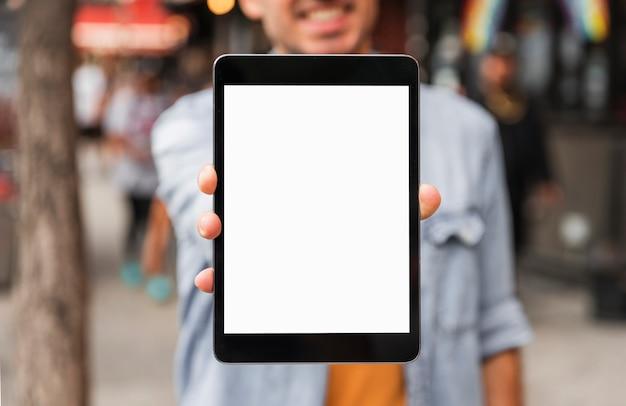 Vooraanzicht groot tabletmodel Gratis Foto