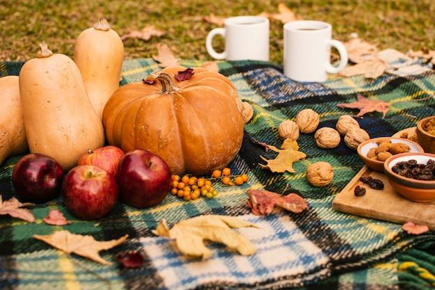 Vooraanzicht herfst seizoen maaltijd op picknickdeken Gratis Foto