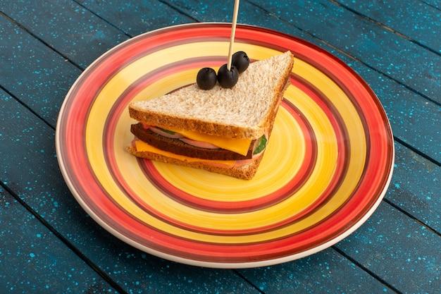Vooraanzicht smakelijke sandwich in kleurrijke plaat in kaasham op blauw Gratis Foto