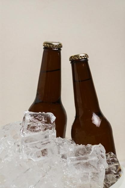 Vooraanzicht twee flessen bier in koude ijsblokjes Gratis Foto