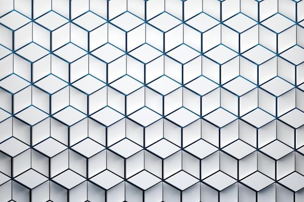 Vooraanzicht van het oppervlak met zeshoekig patroon. witte zeshoekige vormen gemaakt van ruitvormen gerangschikt in herhalend patroon. Premium Foto