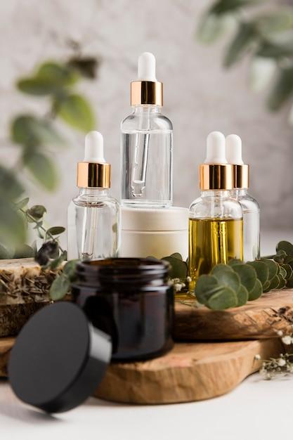 Vooraanzicht van natuurlijke cosmetica concept Premium Foto