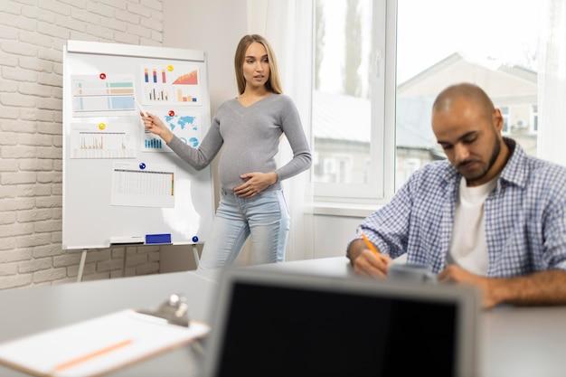 Vooraanzicht van zwangere zakenvrouw die presentatie geeft terwijl collega aantekeningen maakt Gratis Foto