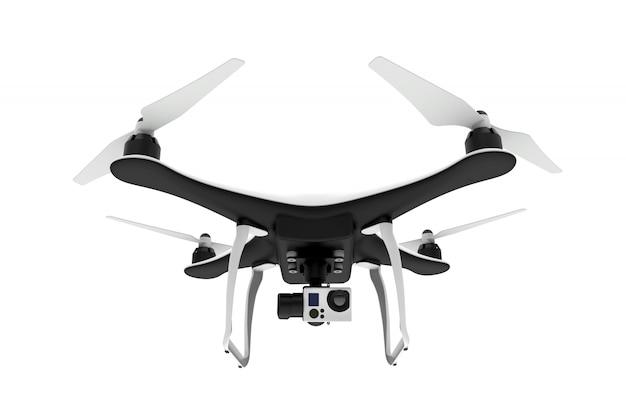 Voorzijde van een drone met digitale camera die op een witte achtergrond vliegt Premium Foto
