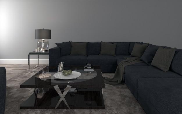 Vorm black sofa realistisch mockup van 3d-gerenderde interieur van moderne woonkamer Premium Foto