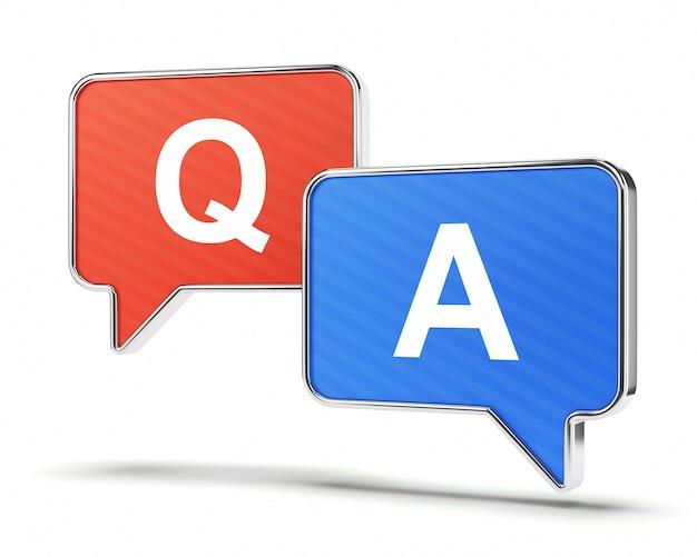 Vraag en antwoord tekstballonnen Premium Foto