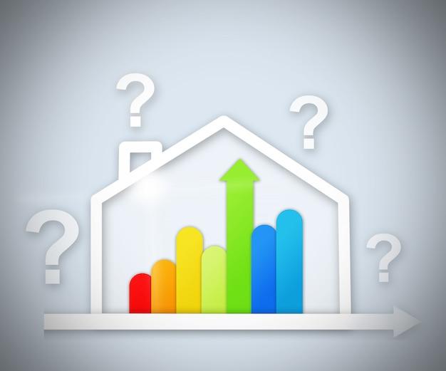 Vraagtekens boven energie-efficiënte grafische huis Premium Foto