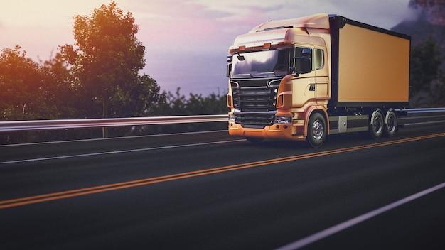 Vrachtwagen op de weg. 3d render en illustratie. Premium Foto