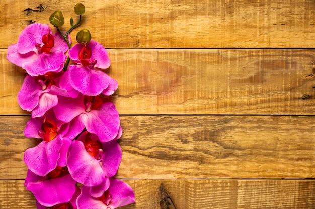 Vrij elegante roze bloemen op houten achtergrond Gratis Foto