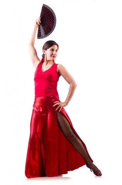 Vrouw dansen traditionele spaanse geïsoleerde dans Premium Foto