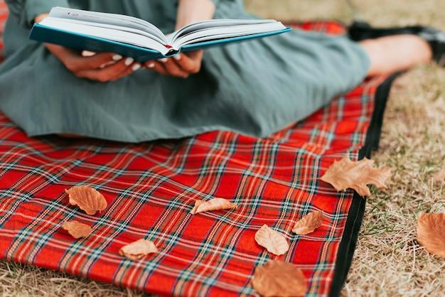 Vrouw die een boek op een picknickkleed leest Gratis Foto