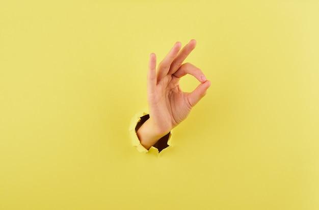 Vrouw die een teken van overeenstemming over gele achtergrondexemplaar ruimteclose-up tonen Premium Foto