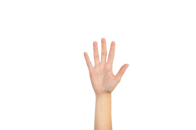 Vrouw hand met haar palm en vijf vingers op een witte achtergrond Premium Foto