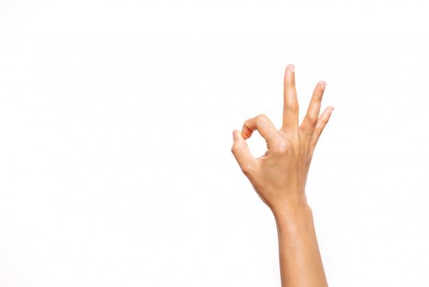 Vrouw hand ok teken Premium Foto